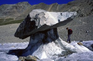 Picture of glacier table - a boulder balanced on a thin stack of ice