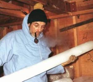 Willi Dansgaard with ice core
