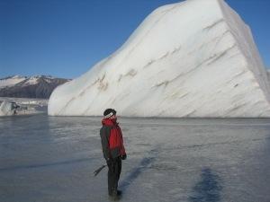 Ruth Mottram on a frozen laje