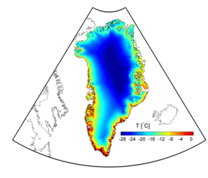 Mean annual 2m  temperature over Greenland (1989 - 2012) from HIRHAM5 forced by ERA-Interim on the boundaries