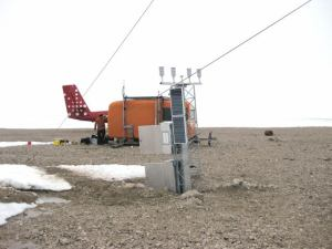 Henrik Krøyer Holm weather station in Northern Greenland. It's very expensive to maintain so it is visited only once every 3 years or so. Like most instruments in Greenland, it is built to be tough. Picture from DMI archive
