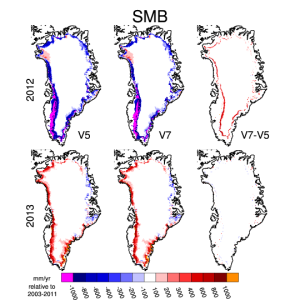 Surface mass balance map plots of Greenland