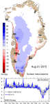 Daily and accumulated surface mass budget of the Greenland ice sheet, 31st August, 2015, last day of the hydrological year